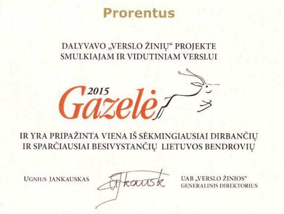 """Prorentus Ltd. is one of the fastest growing companies in the Awards """"Gazelė 2015"""""""
