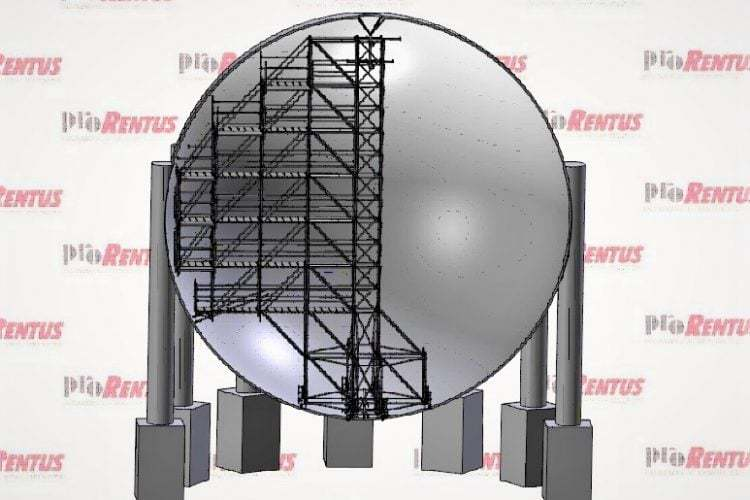 Mobile scaffold for spherical ammonia tank by Prorentus Ltd.